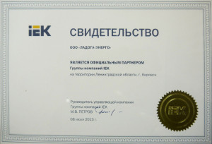 Свидетельство официального партнера Группы компаний IEK